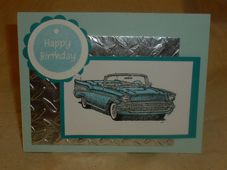 Baby blue chevy convertible birthday card card ideas