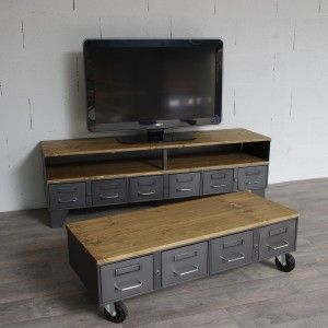 Table Basse Style Industriel Tiroirs Roulettes