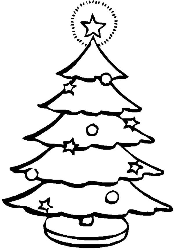 Christmas Tree Coloring Page Tree Pinterest
