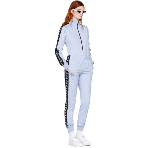 kappa ssense exclusive blue track jacket 65 liked on polyvore featuring activewear