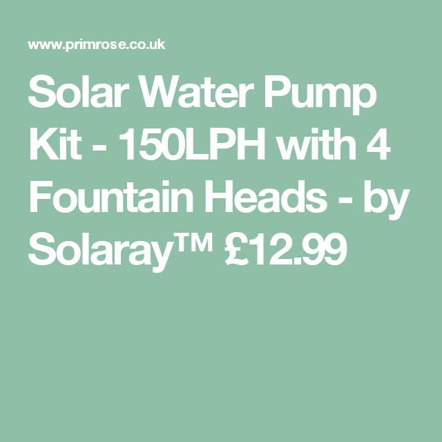 150LPH with 4 Fountain Heads by Solaray Solar Water Pump Kit