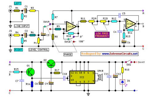 9a999c1b58af03e1ef2be516ed845ea1 tda2030 subwoofer amplifier using 4558 filter subwoofer audio wiring diagram for subwoofers and amp at reclaimingppi.co
