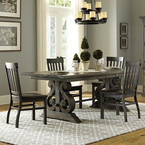 Magnussen Home Bellamy Transitional Five Piece Weathered Gray Dining