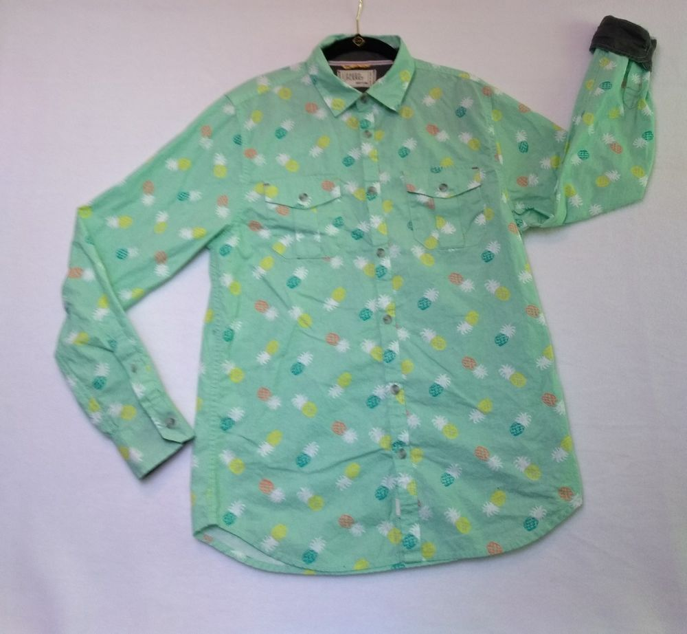 Free Planet Mens Button Down Shirt Size Medium Long Sleeve Pineapple