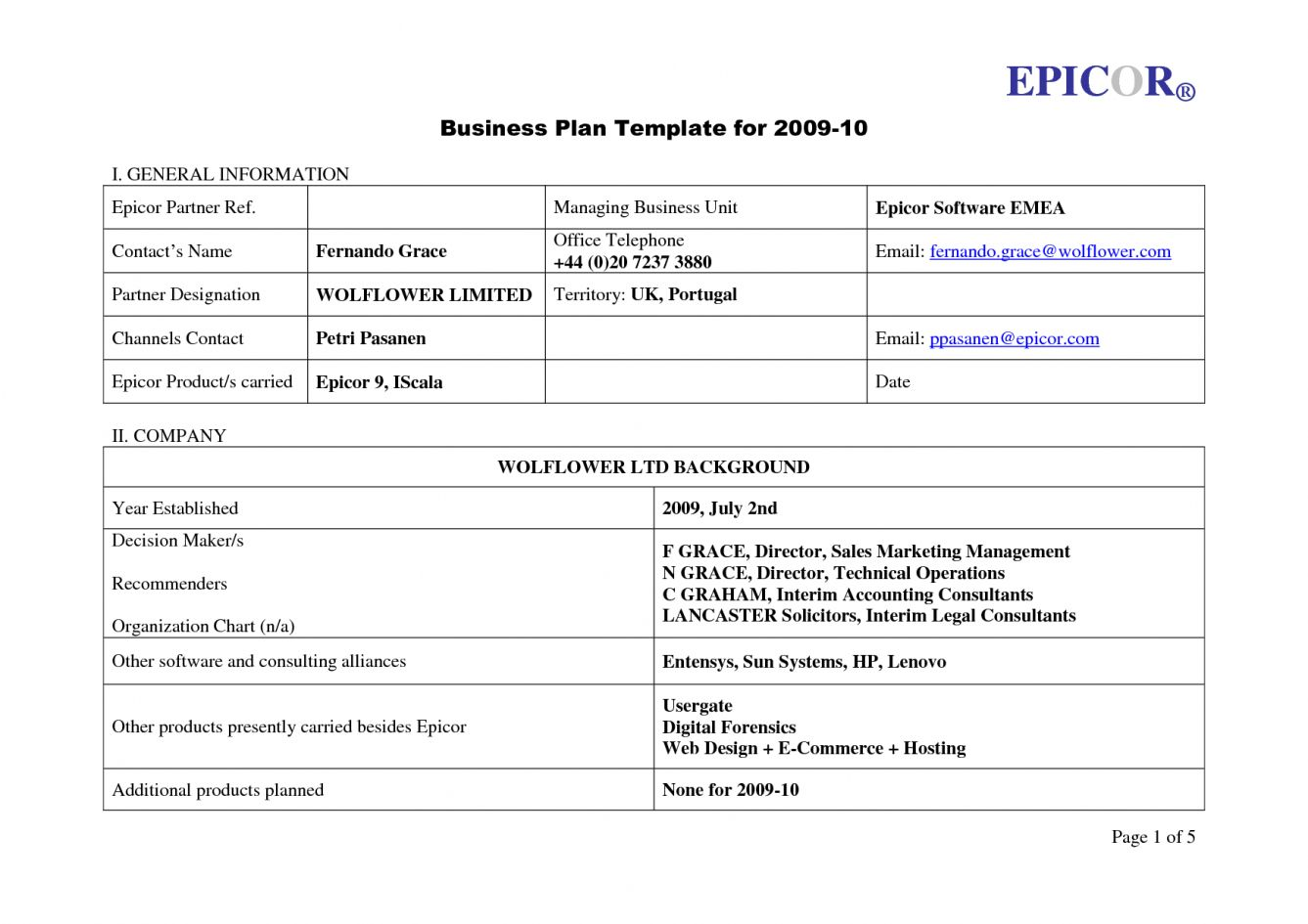 Fill In The Blank Business Plan Template Free Plans