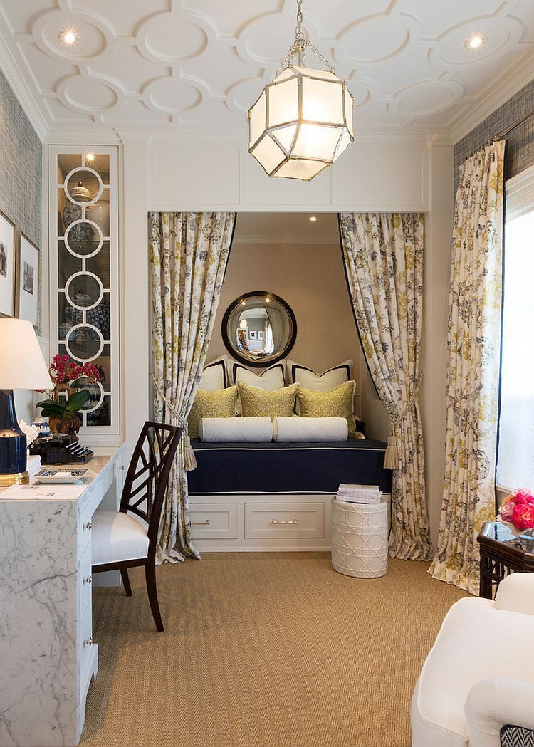 traditional office decor. Traditional Home Office Turned Into A Gorgeous Guestroom [Design: Robert Frank / Carolyn Reyes Photography] Decor D