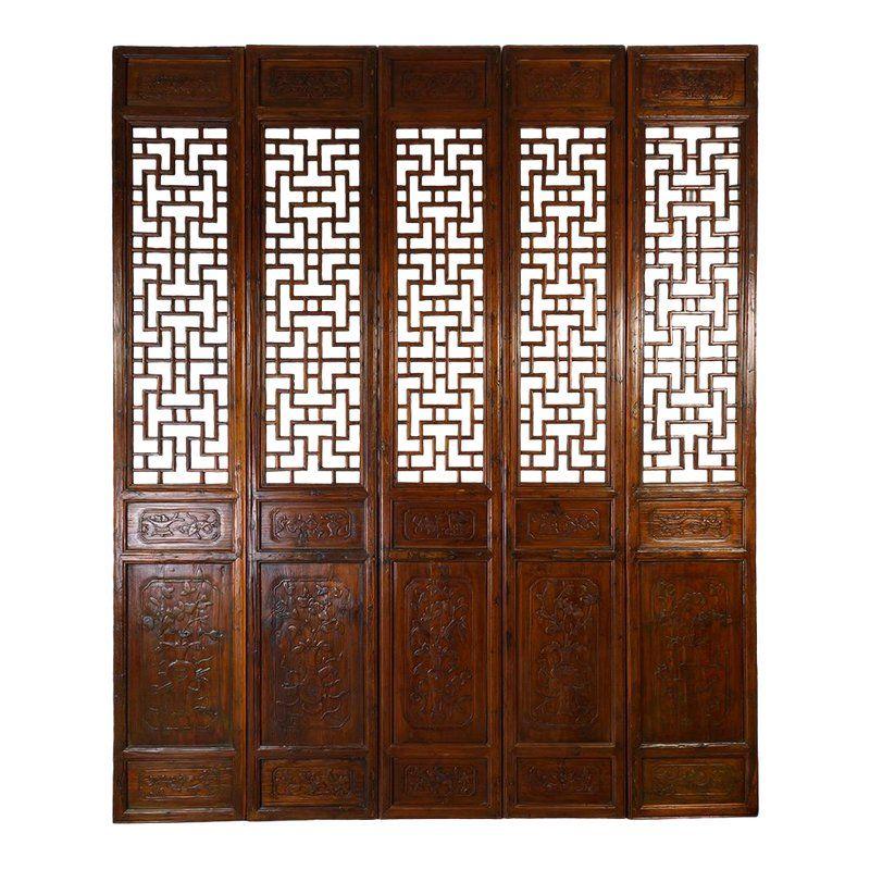 Antique Chinese Handcraft 5 Panels Wooden Screen Room Divider Wooden Screen Antique Window Frames Room Divider