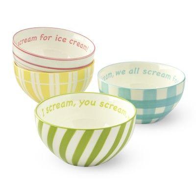 I Scream For Ice Cream Bowls, Set of 4
