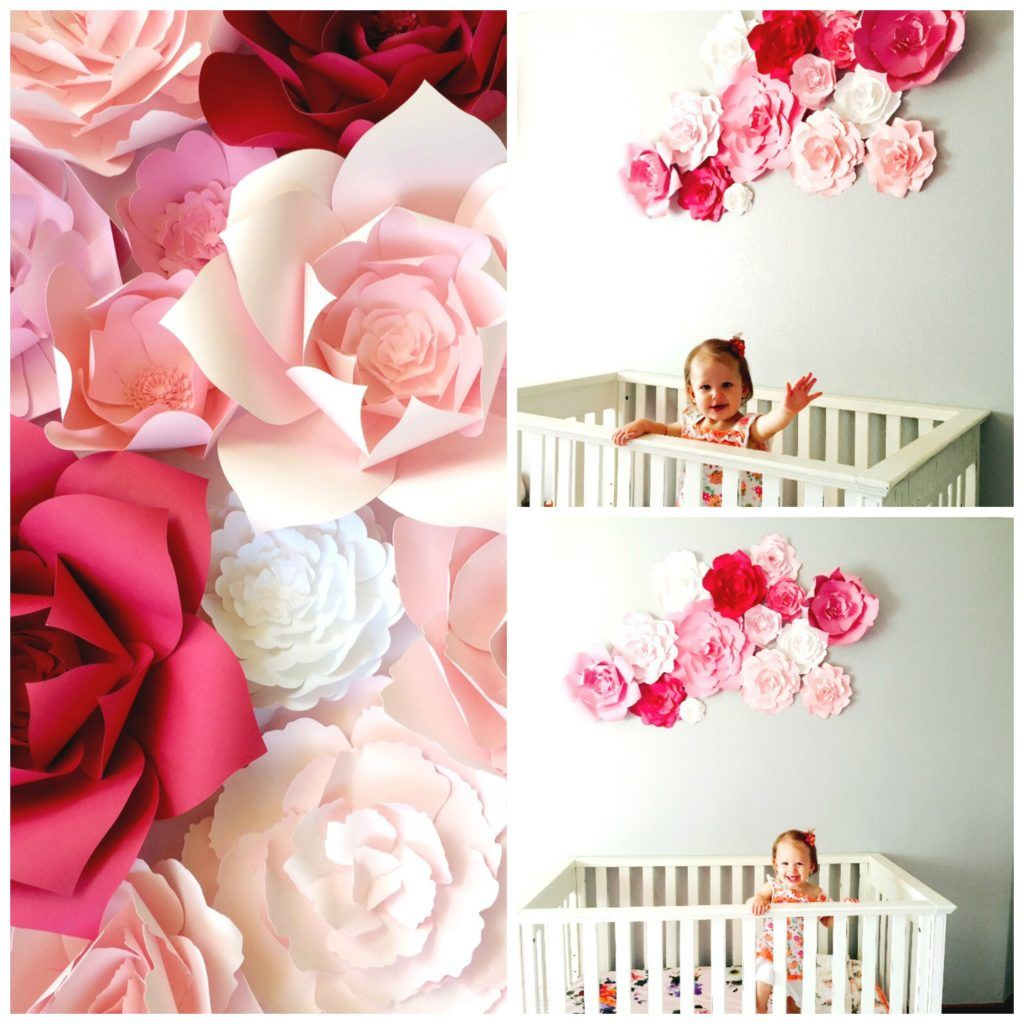 Paper flower wall pink nursery wall by PaperFlora | Let\'s Get Crafty ...