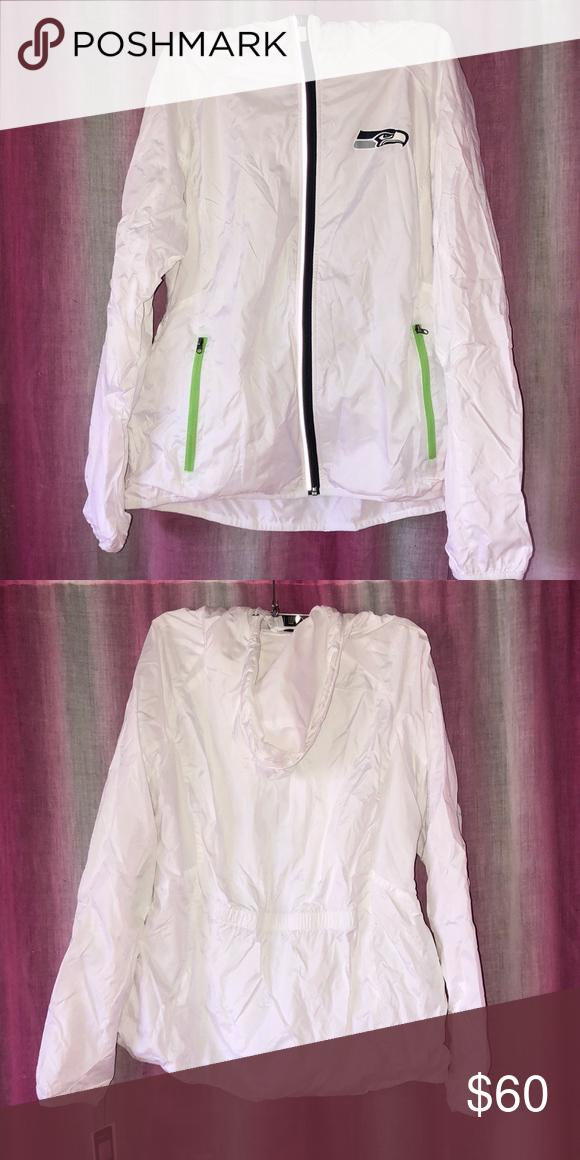 wholesale dealer bb63a da0ce Seahawks Jacket white, rain jacket, windbreaker, hood, zip ...
