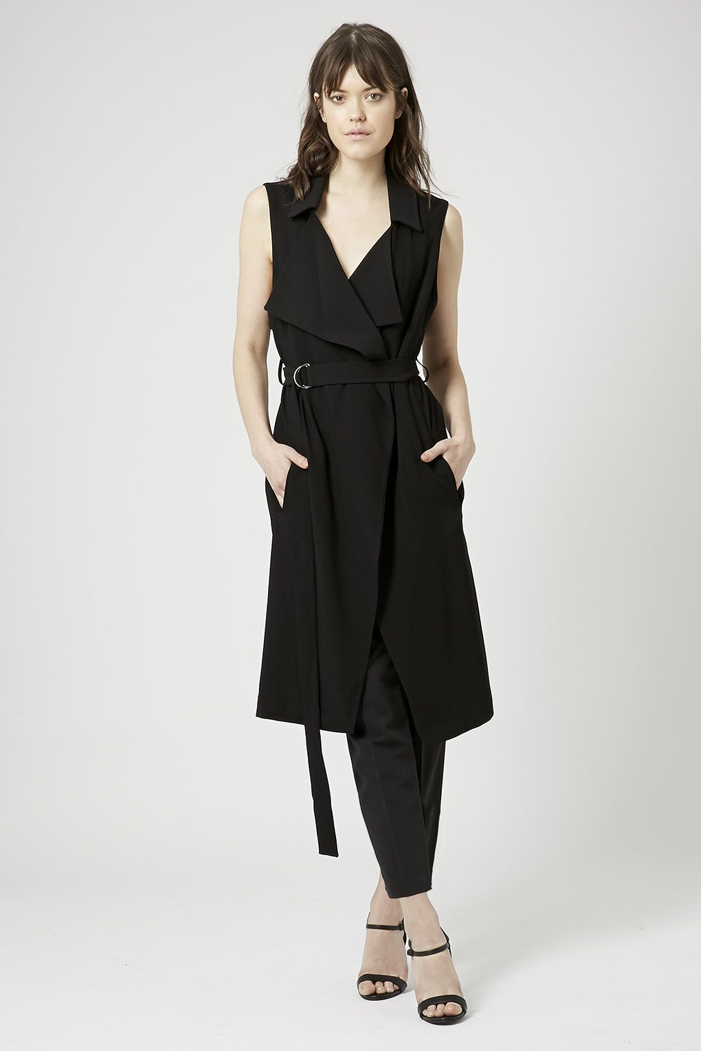 db15e4dc7c8c Sleeveless Belted Duster - Topshop | Workday Chic | Sleeveless ...