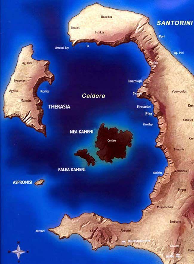 Santorini Caldera Map Yes Santorini Is Just An Old Volcano