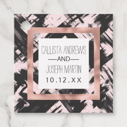 Artsy Blush Pink Black Abstract Brushstroke Favor Tags