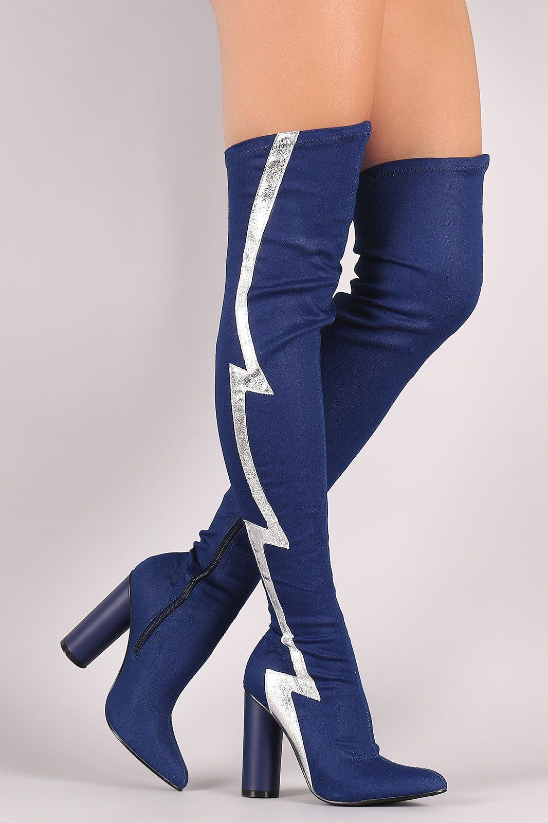 bfc8c1a25db Lightning Bolt Round Heeled Over-The-Knee Denim Boots | Crazy Cool ...