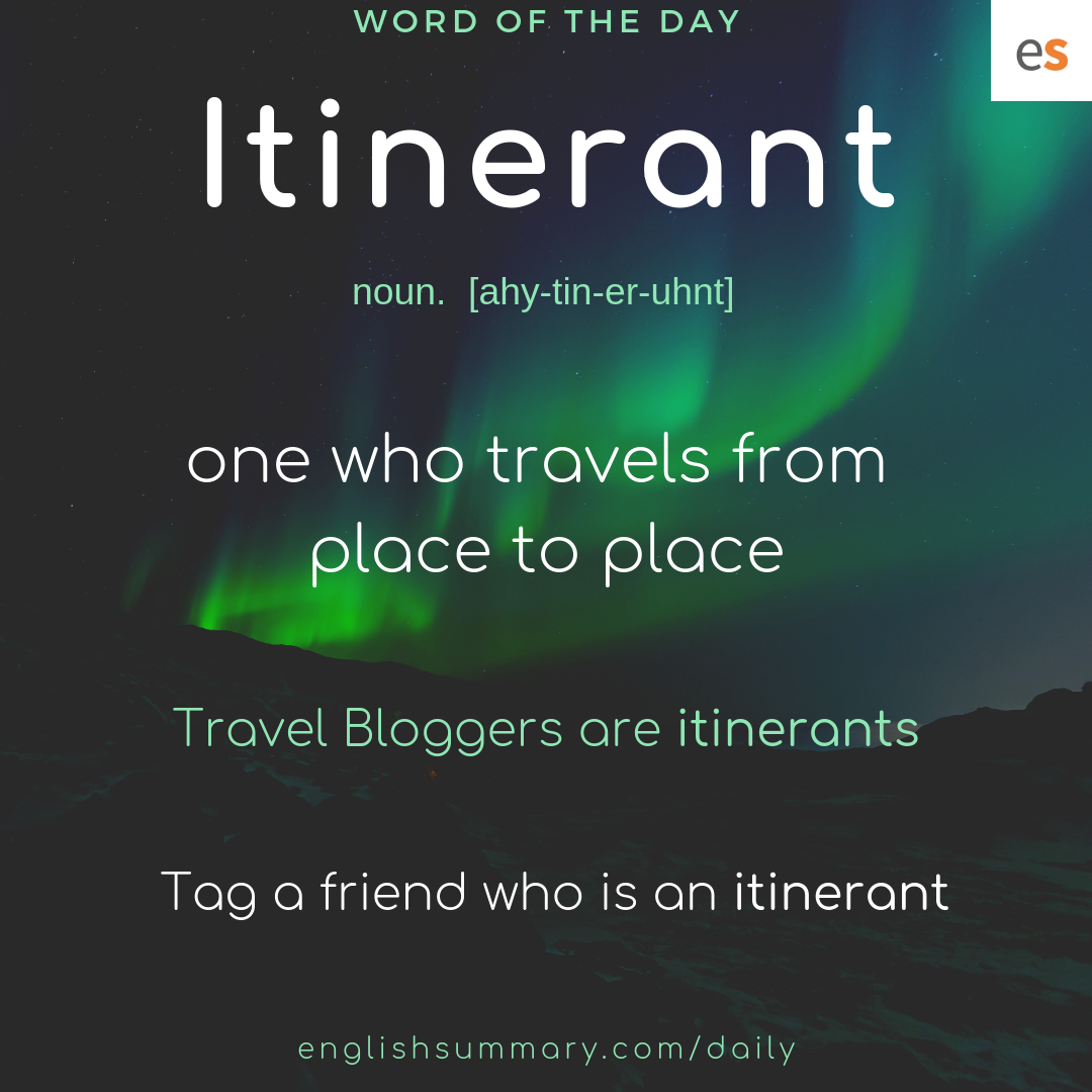 Itinerant Meaning in English | Word of the Day With Meaning
