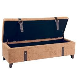 Tan Map Fabric Storage Ottoman with Straps