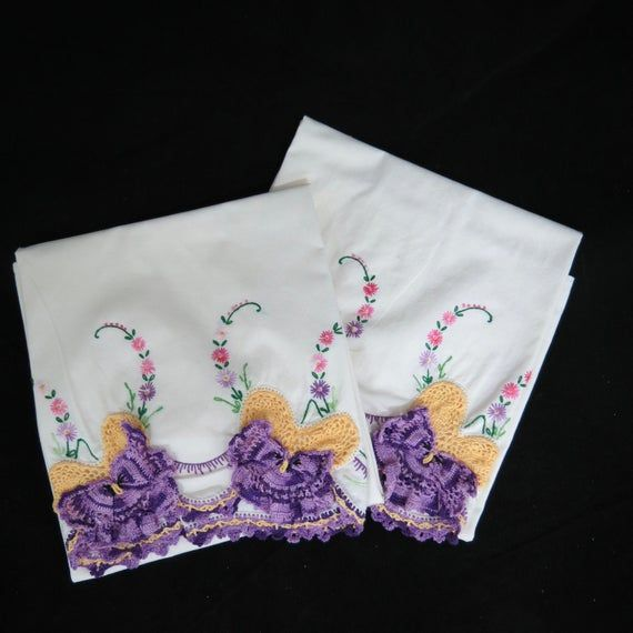 Vintage Crochet Embroidered Butterfly Pillowcases,Purple Embroidered Pillowcases, Free Shipping, 4MT