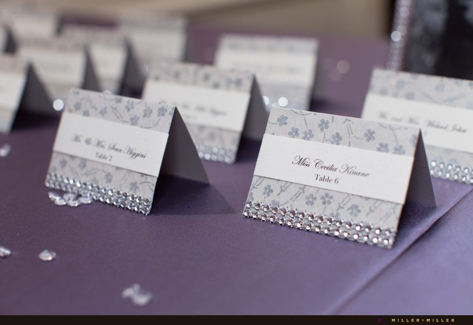 Silver Purple Table Reception Placecards