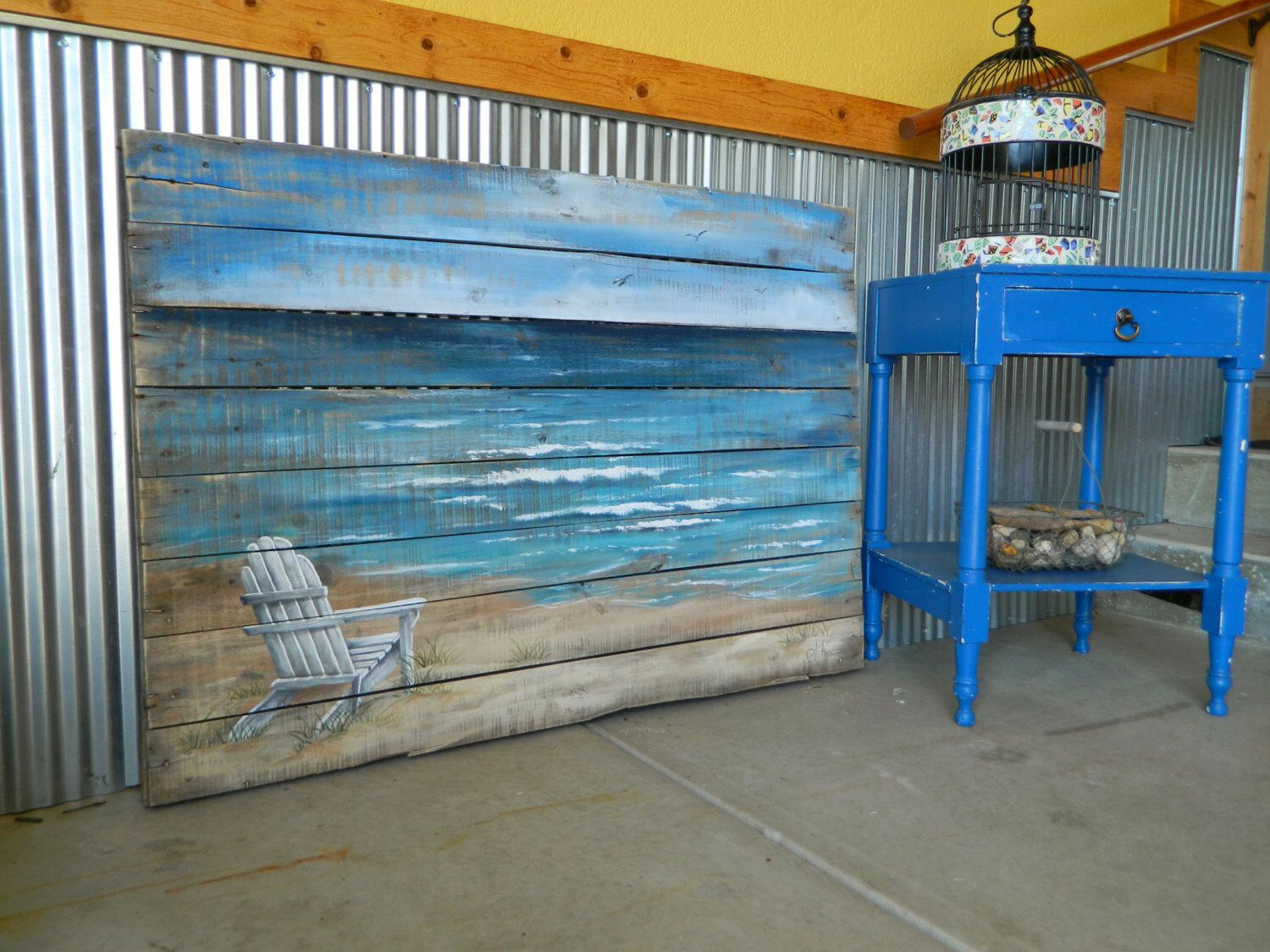 Distressed Adirondack Chairs Chair Plant Stand Wood Pallet Beach Wall Art Hand Painted Seascape