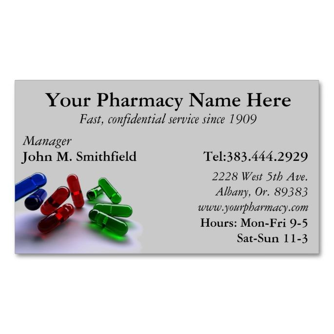 Pharmacy Pharmacist Medication List Business Card Pharmacists - business card template for doctors