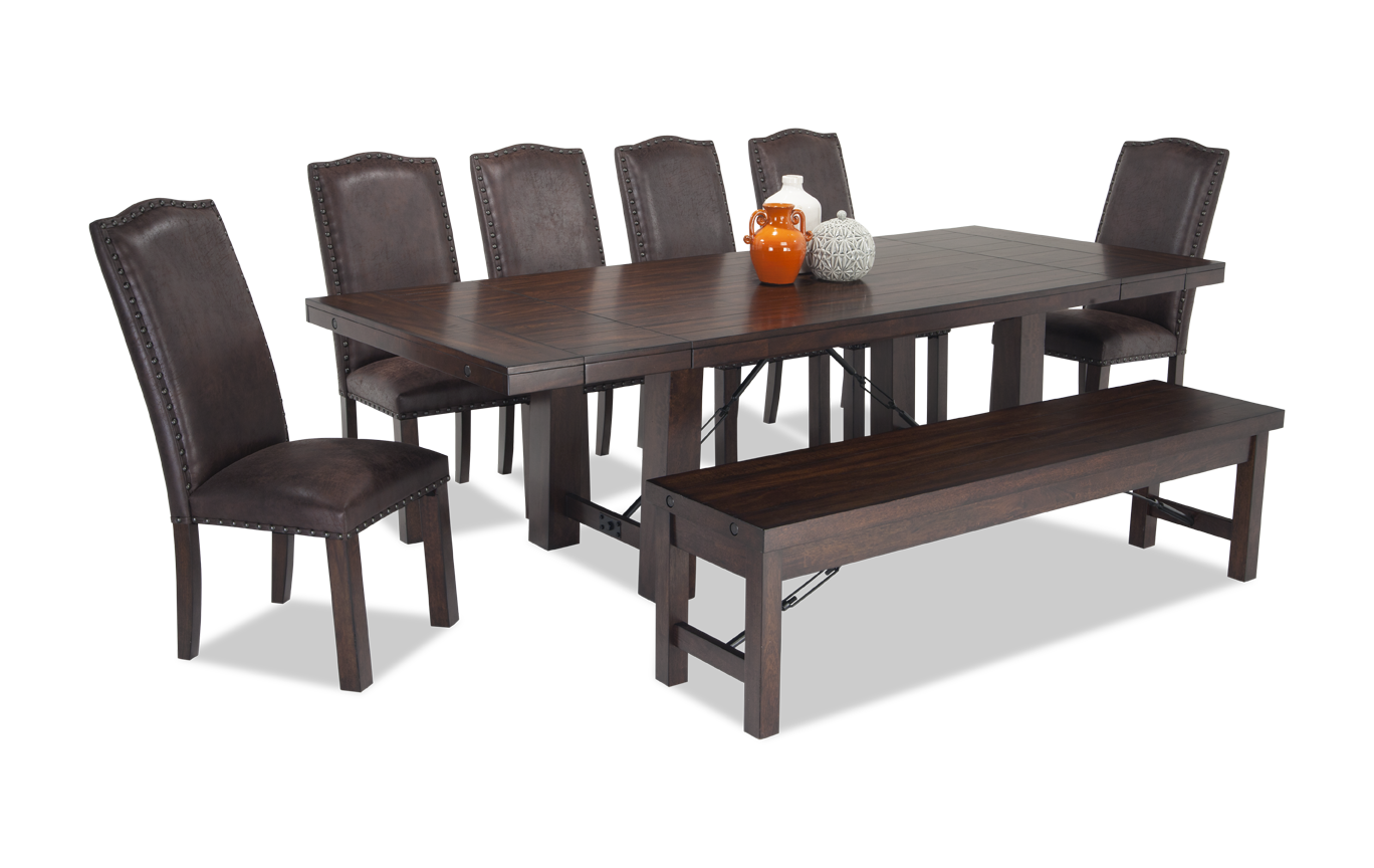 Peachy Mesa 8 Piece Dining Set With Storage Bench And Upholstered Ibusinesslaw Wood Chair Design Ideas Ibusinesslaworg