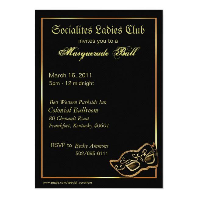 Custom Metallic Gold Masquerade Ball Invitation | Zazzle ...
