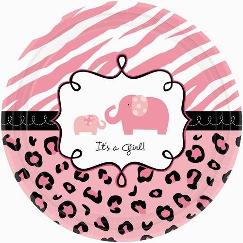 Sweet Safari Girl 7 Inch Dessert Plates 18 Per Package Girl Baby Shower Decorations Baby Girl Shower Themes Wild Baby Shower