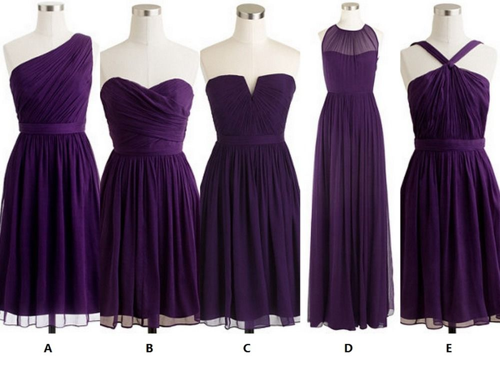 $38.50 ea, available in lots of colors, customizeable (can even choose hem length) | Eggplant purple series short bridesmaid dress, wedding party dress, different neckline styles-in Bridesmaid Dresses from Apparel & Accessories on Aliexpress.com | Alibaba Group