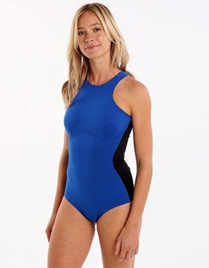 06fa682a1ef3 Stella McCartney Swim Iconic Colour Block High Neck One Piece - Black and  Blue