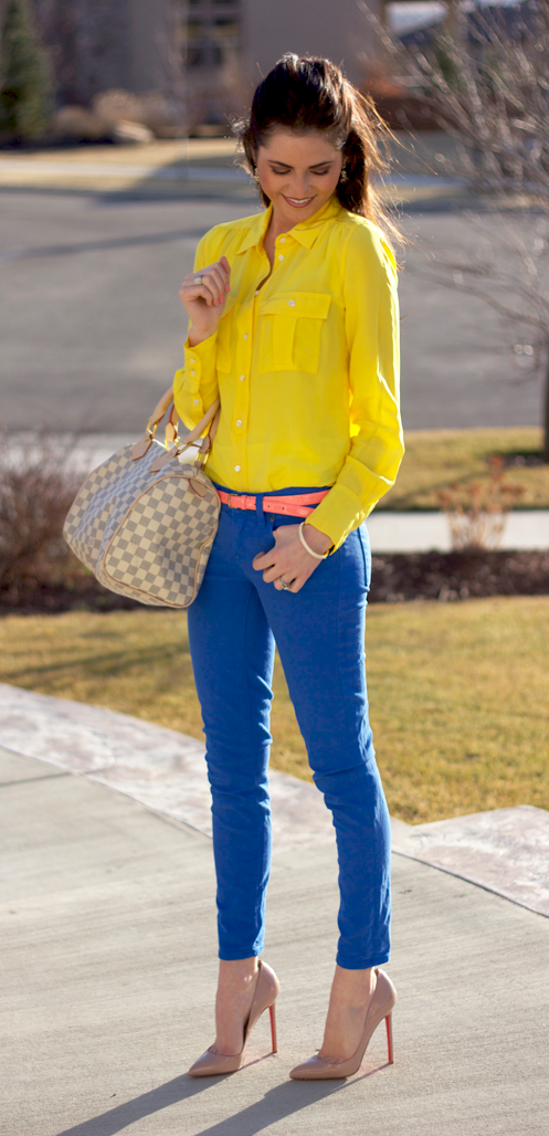Pants yellow blue shirt with Office Fashion