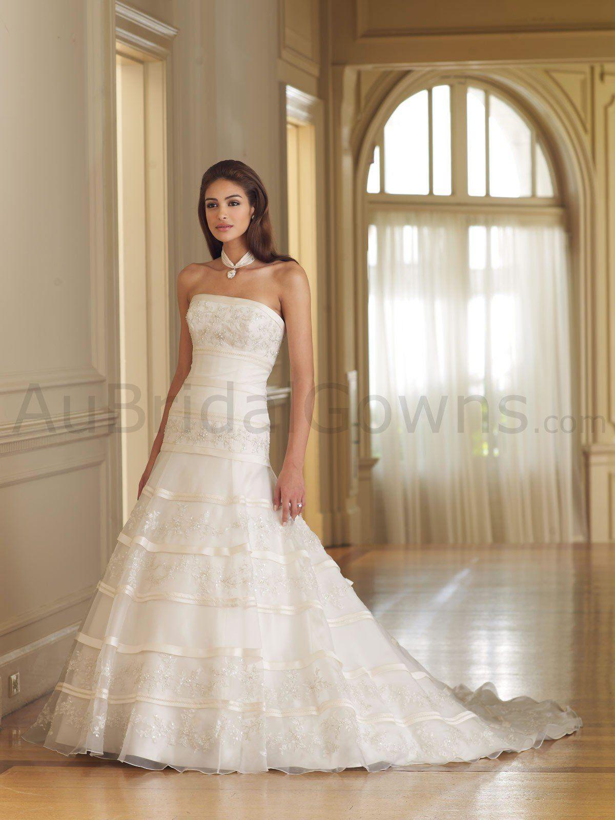 Organza strapless softly curved back bodice aline wedding dress