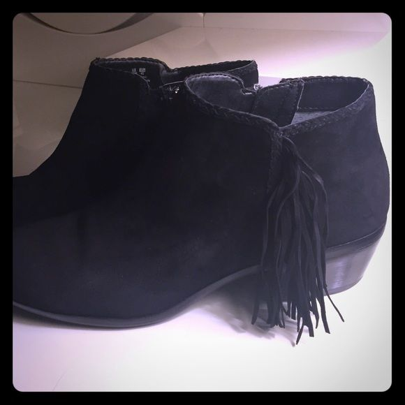 Sam Edelman Black Suede Fringe Ankle Boots Previously worn, but excellent condition!  No box. Sam Edelman Shoes Ankle Boots & Booties