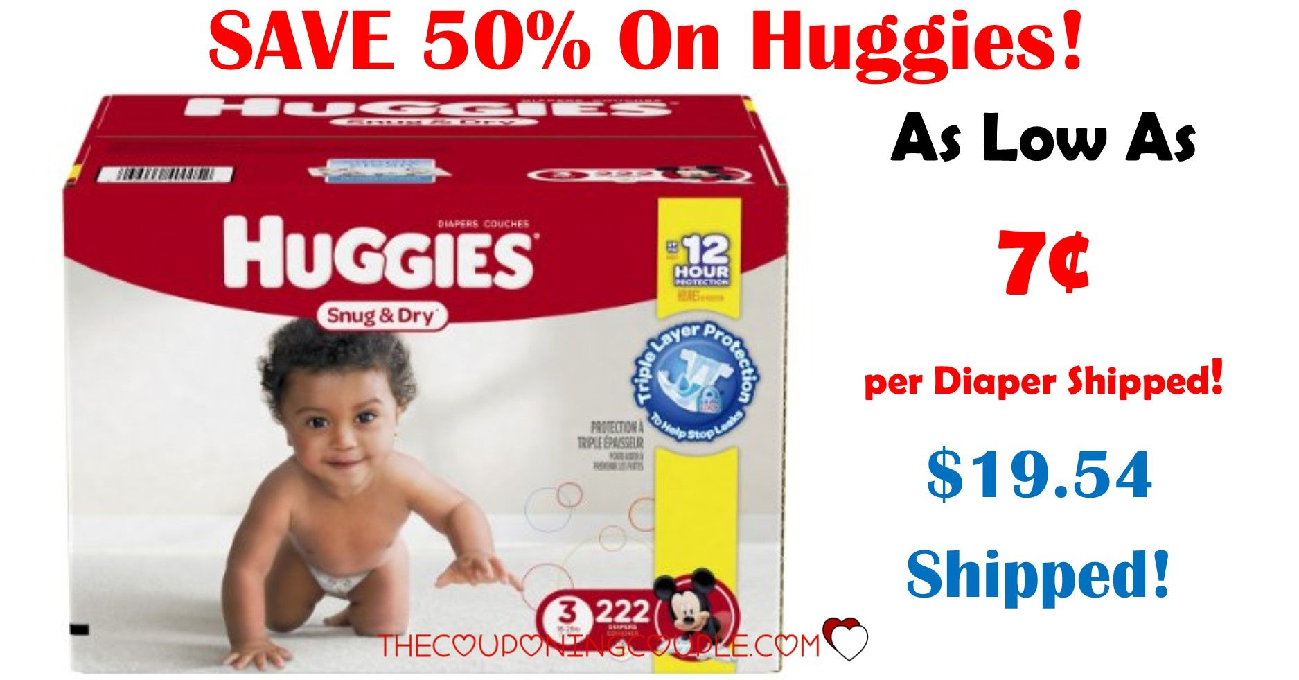 HOT Huggies Snug u Dry Diapers As Low As box Shipped