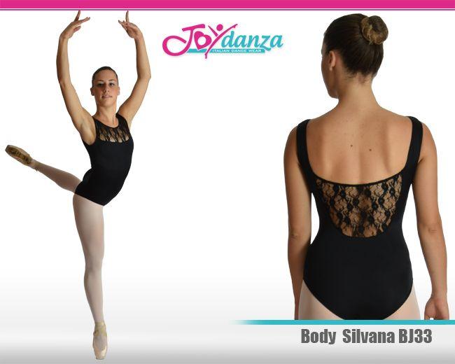 Raffinatissimo modello di body adatto alla danza classica e moderna con inserti in pizzo elastico trasparente sulla scollatura anteriore alta e posteriore.  Il pizzo è possibile sostituirlo anche con la rete elastica. Consigliato per le età dai 16-18 anni in su.