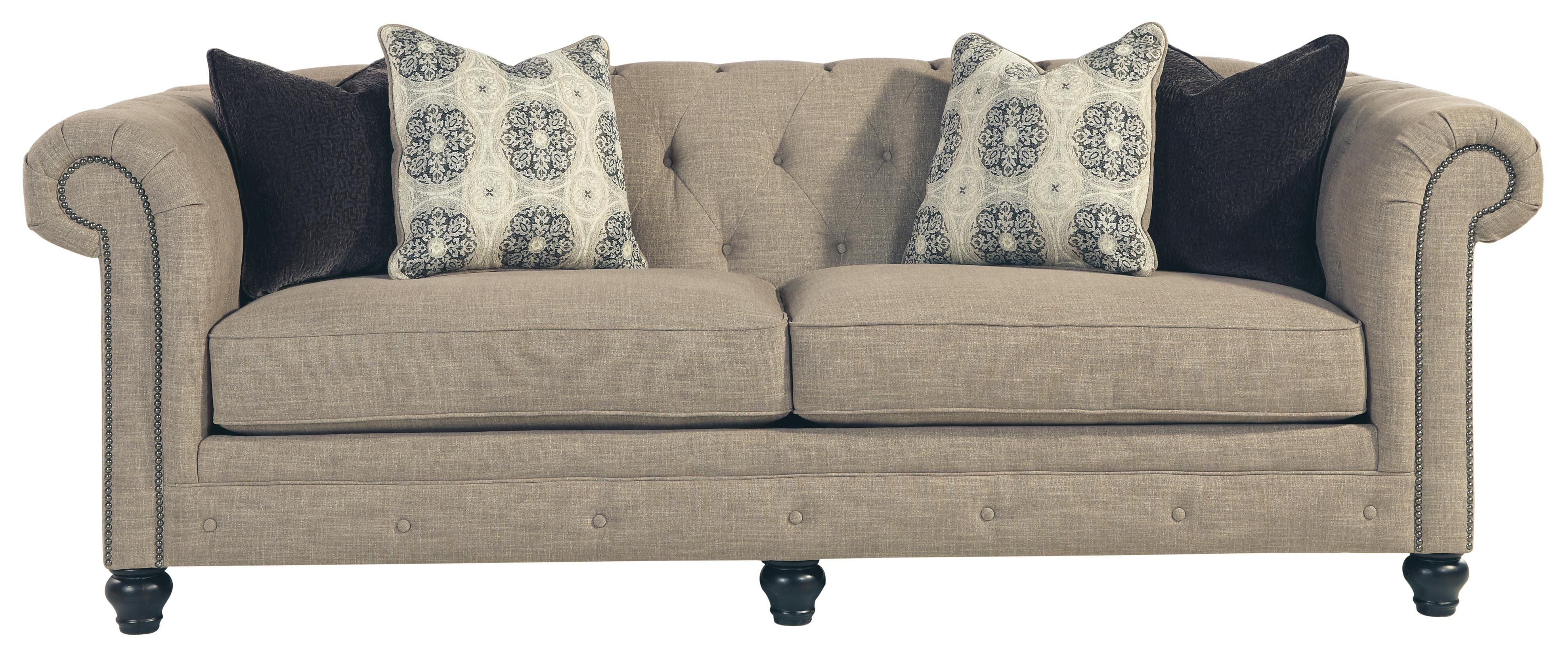 Sofa azlyn transitional chesterfield sofa with linenblend fabric by
