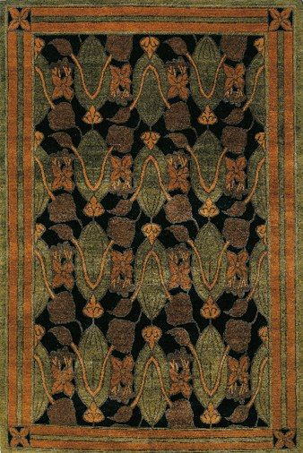Tulips Black Craftsman Rugs Arts Crafts Style Art And Craft Design