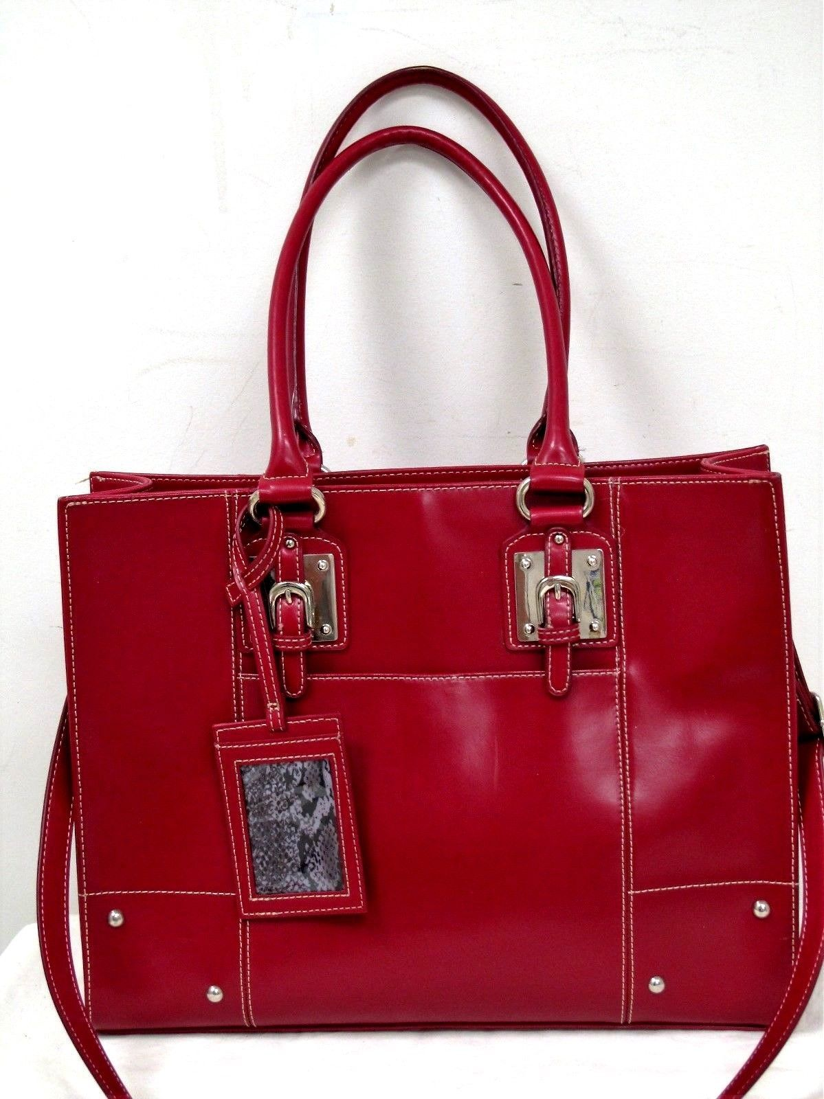 Used Wilsons Leather Red Shoulder Tote Bag Purse Sz Xl Ebay
