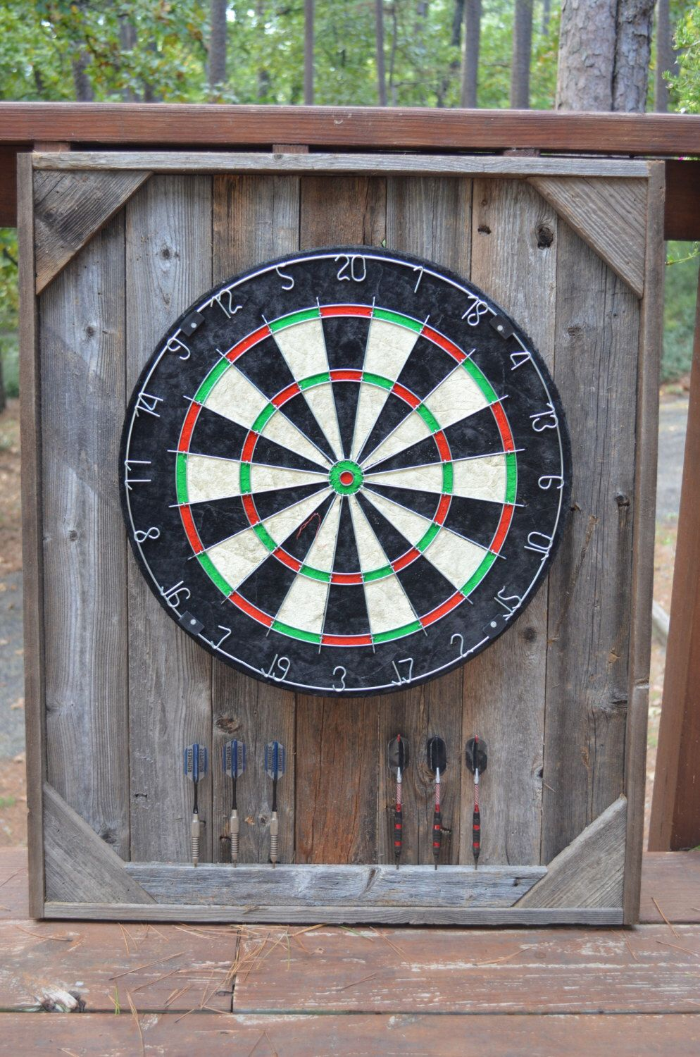 dart board backboard cabinet case barnwood reclaimed wood on sale