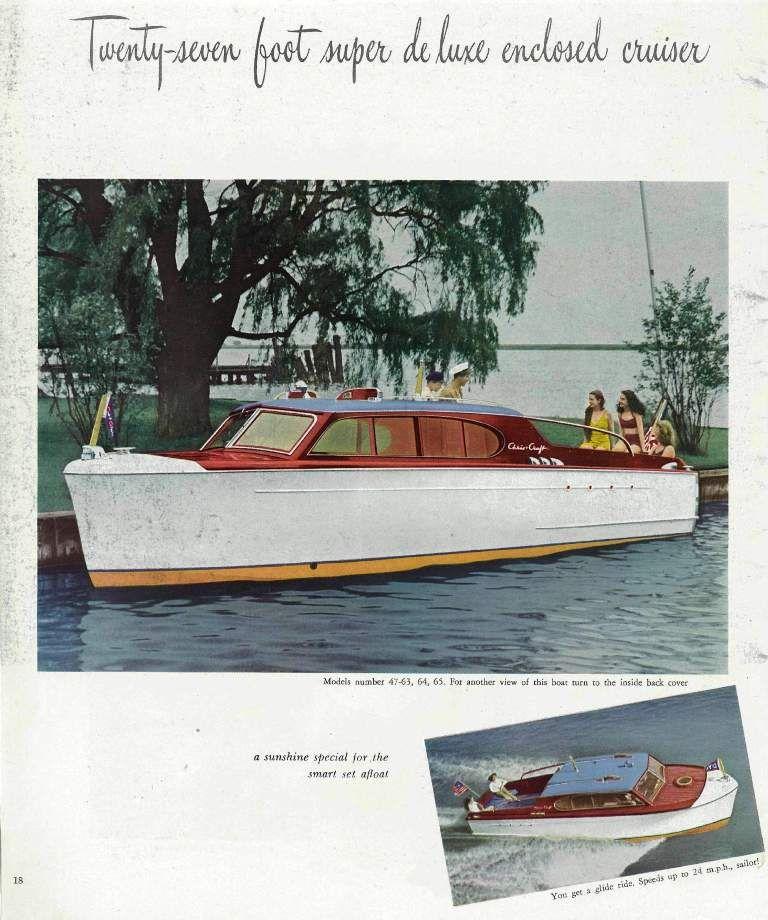 Antique cabincruiser enclosed cruiser brochure for Chris craft boat club