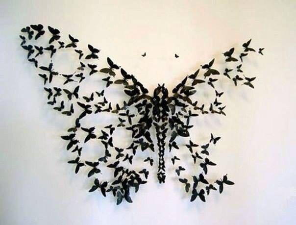 Paper butterfly wall art