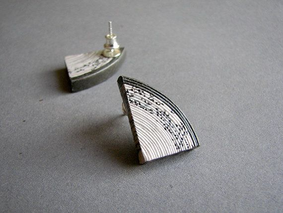 Newspaper stud earrings u st anniversary gift for her u handmade
