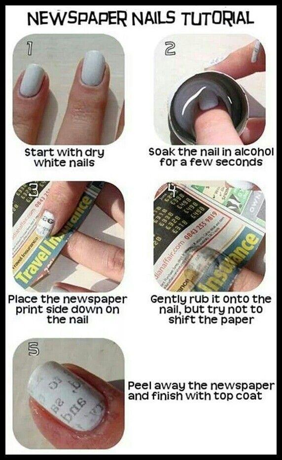 Exelent Newspaper Nails Tutorial Crest - Nail Art Ideas - morihati.com