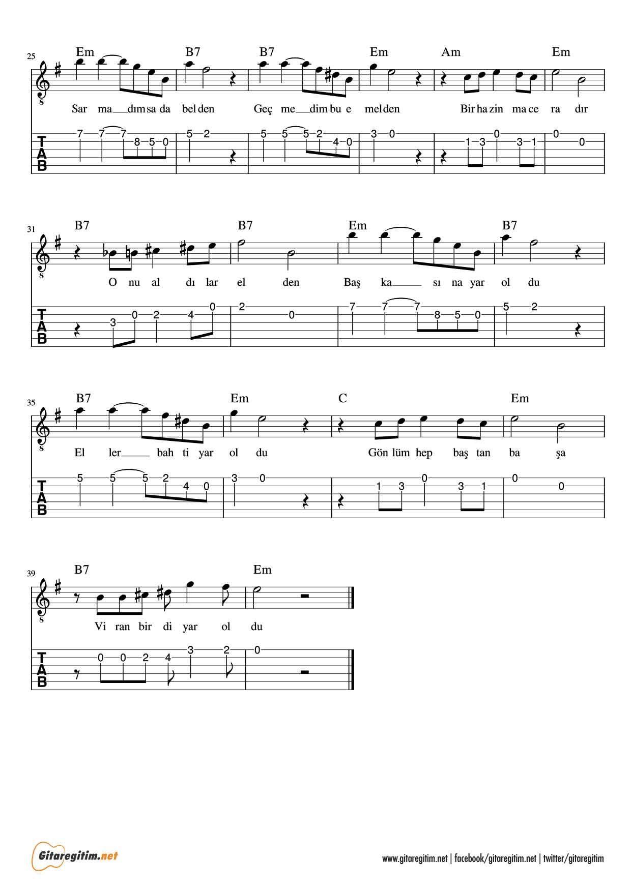 Mazi Kalbimde Bir Yaradir Gitar Nota Tab Gitaregitim Net Gitar Kalp Muzik Notalari