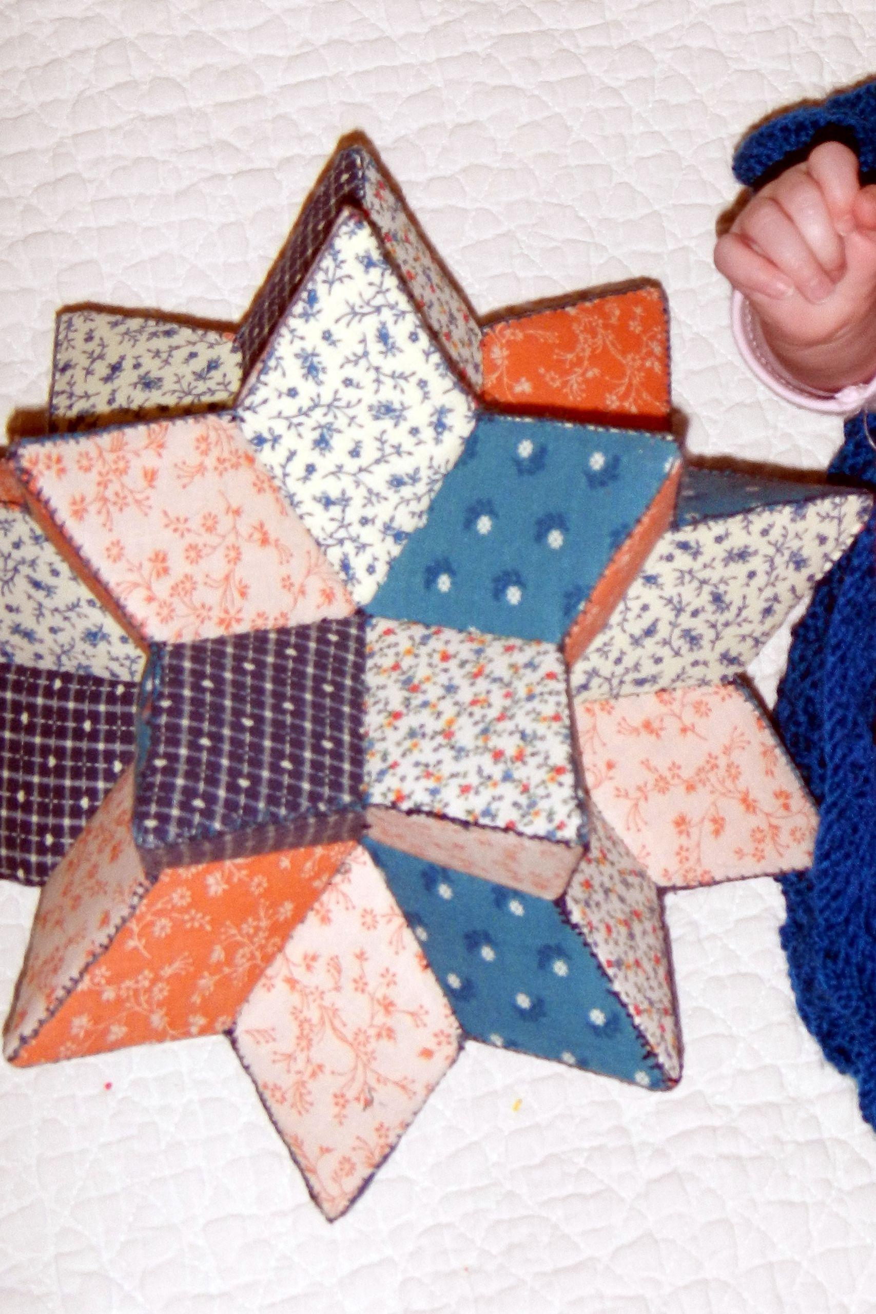 My first attempt.... patchwork star pincushion | victorian patchwork ...