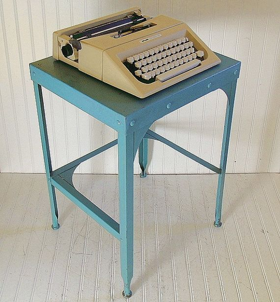 Turquoise Metal Typewriter Stand Vintage Mid Century Office Equipment Steel Blue Shabby Square