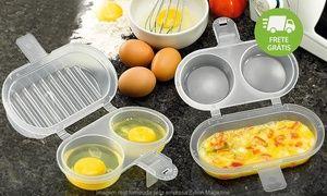 Suporte 2 em 1 da Nitron com duas cavidades para fritar ovo e uma para fazer omelete no microondas