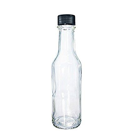 fab5f7df424a 12 pack) 5 oz. Clear Glass Hot Sauce Bottle with Black Cap and ...