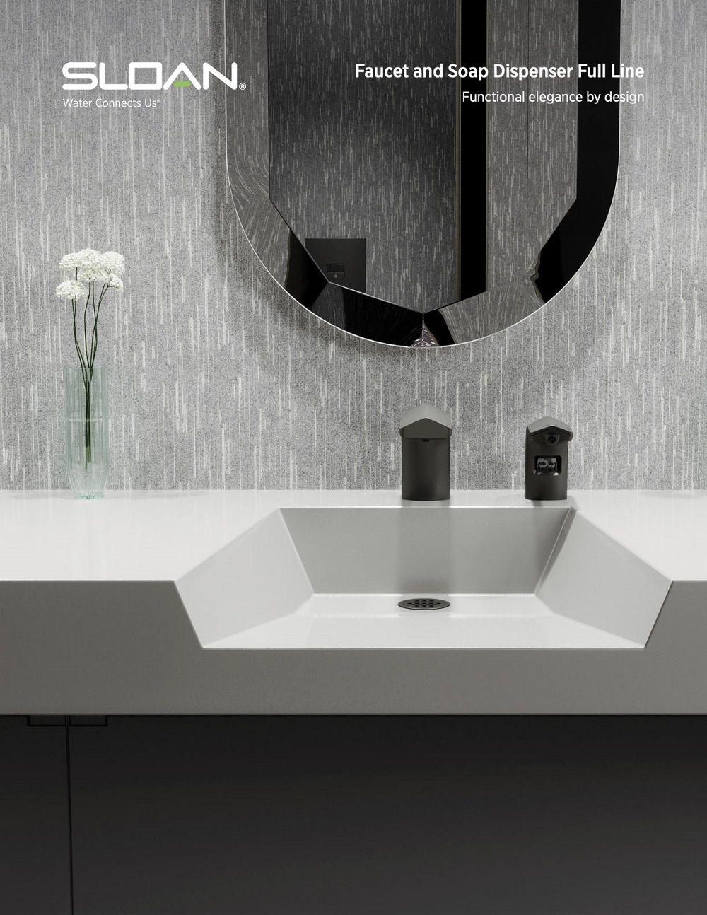 Explore Sloan S Latest Faucet Soap Dispenser Brochure In 2021 Round Mirror Bathroom Faucet Restroom Fixtures [ 1294 x 1000 Pixel ]