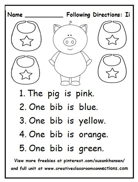 Following Directions Worksheet 1 2 Step No Prep Follow Directions Worksheet Kindergarten Worksheets Following Directions