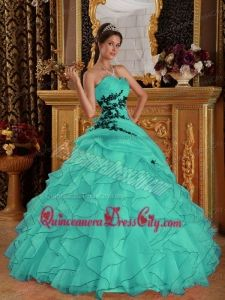 3f53b50861e Turquoise Ball Gown Sweetheart Floor-length Organza Appliques Quinceanera  Dress